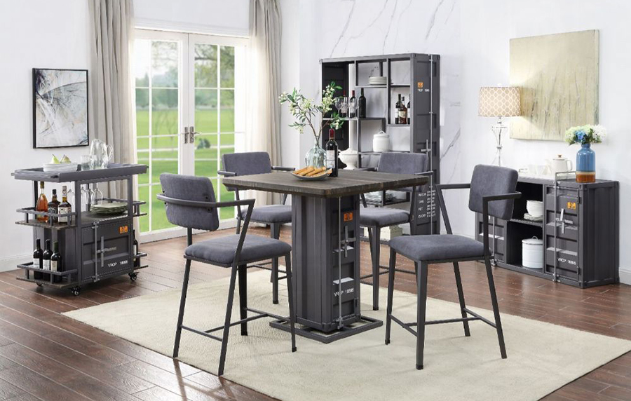 Gunmetal Complete Counter Height Table Set