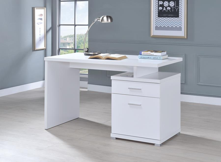 White Office Desk with File Cabinet on the Right