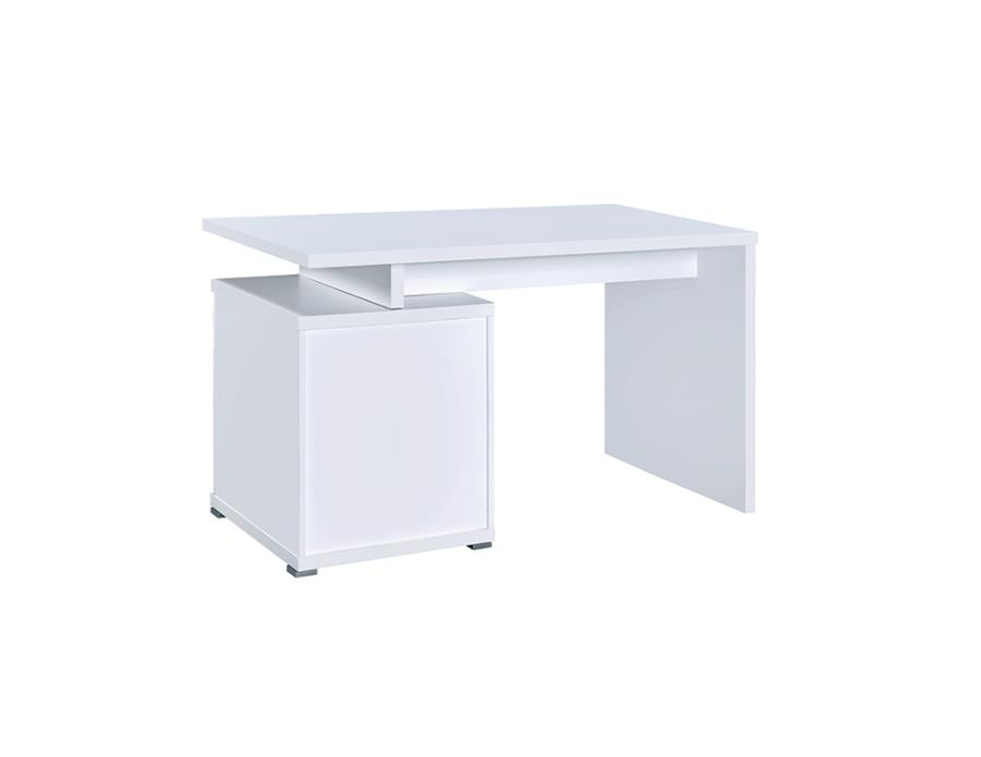 White Office Desk with File Cabinet on the Left Back