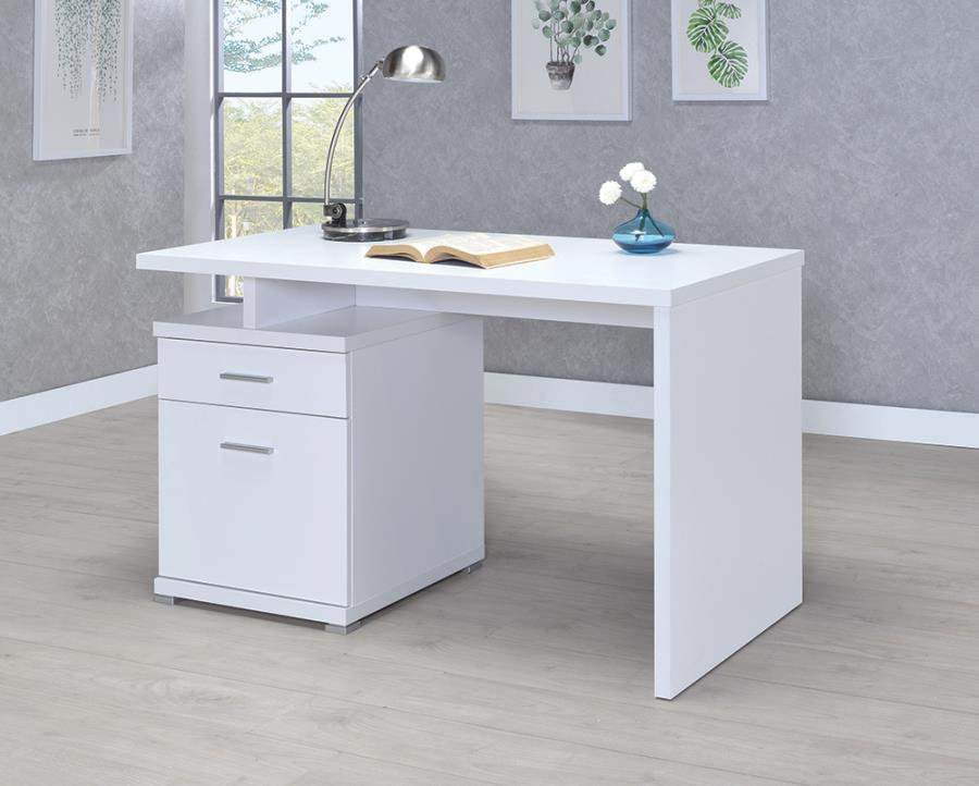 White Office Desk with File Cabinet on the Left