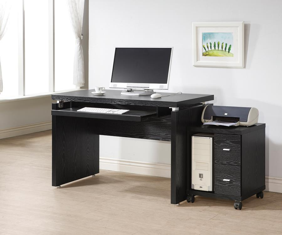 Black Oak 2 Drawer CPU Stand w/ Computer Desk