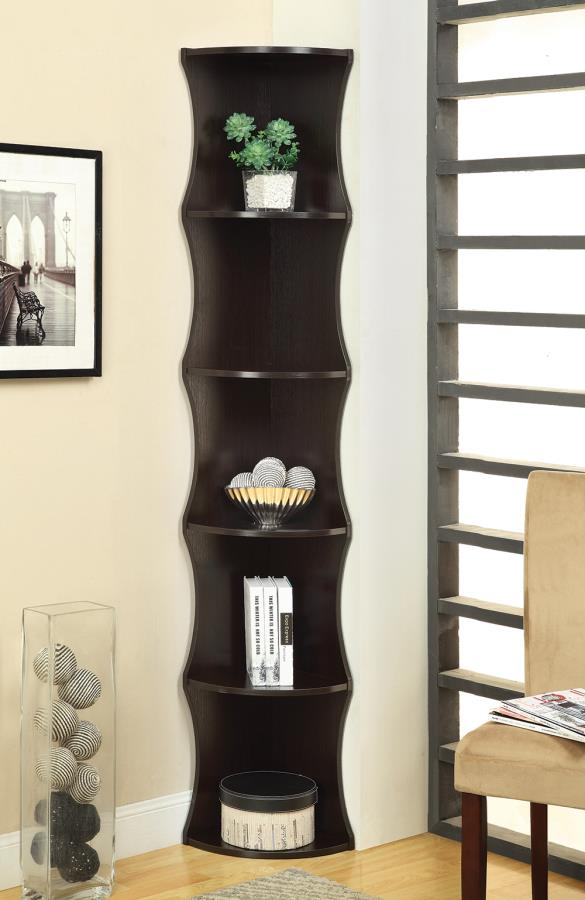Wave-Like Corner Bookcase