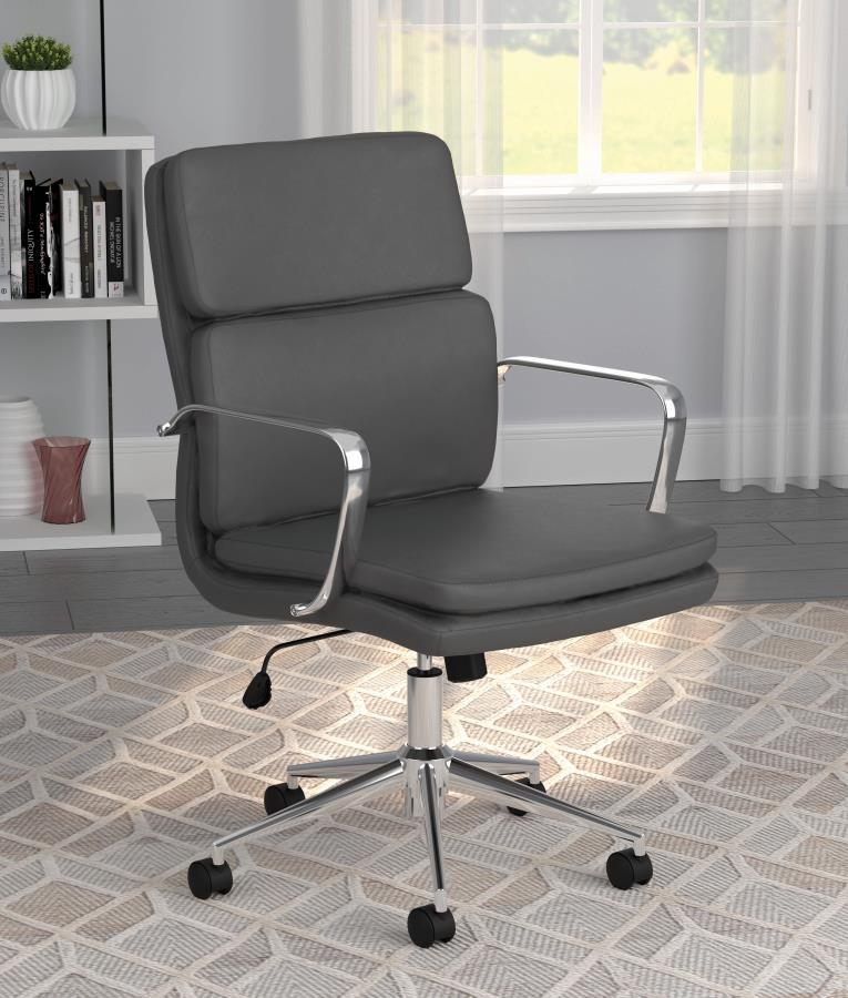 Grey Leatherette Office Chair