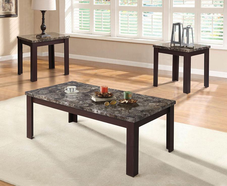 Complete Faux Marble & Espresso 3 Piece Table Set
