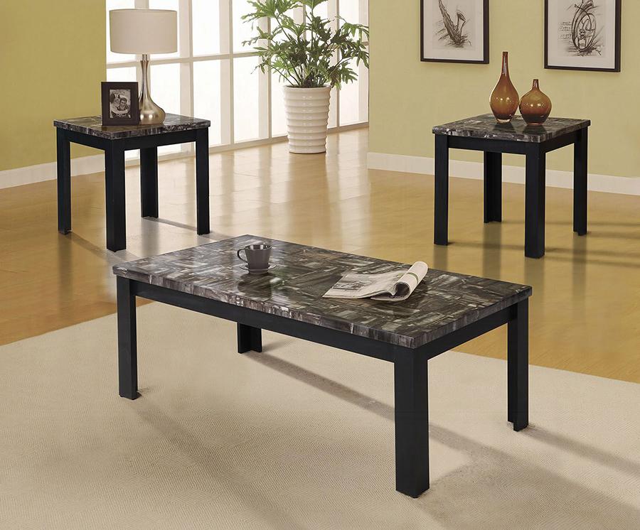 Complete Faux Marble & Black 3 Piece Table Set