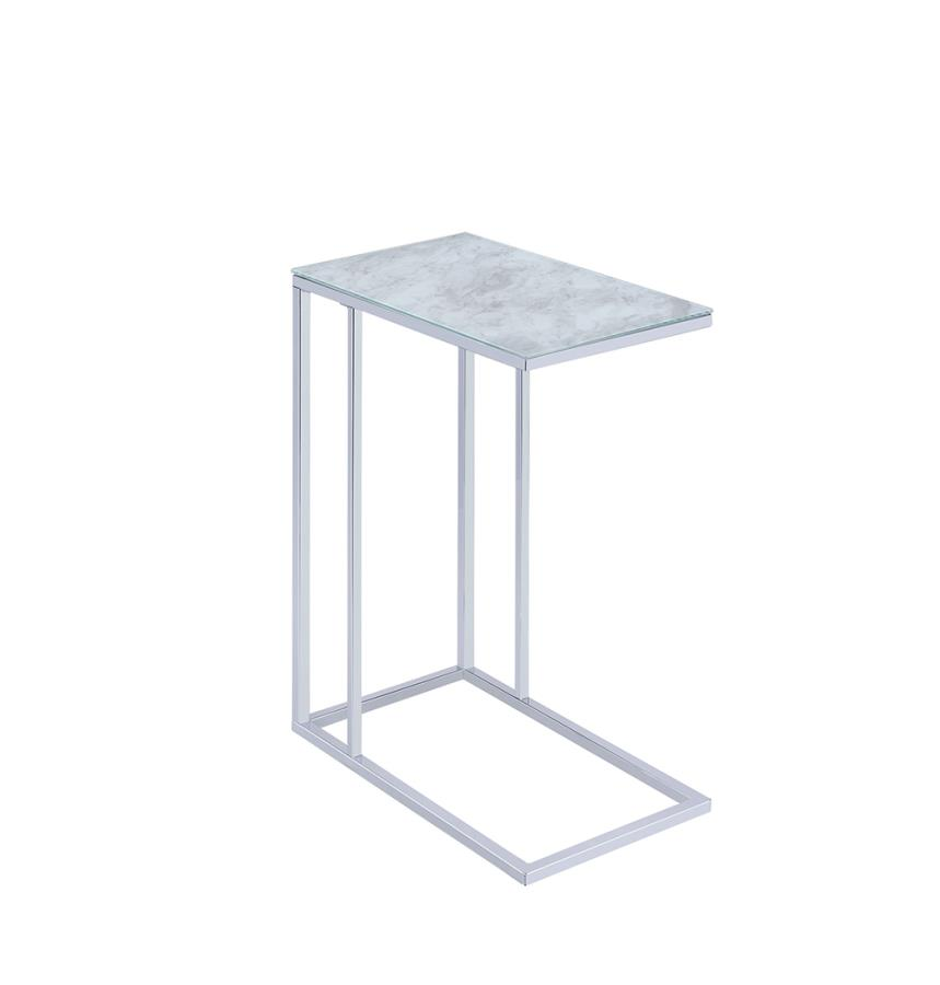 White Marble Accent Table Angle