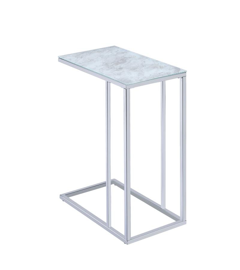 White Marble Accent Table Back Angle
