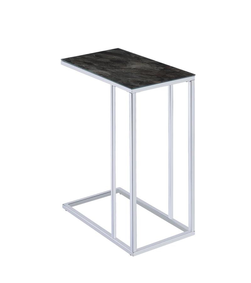 Black Marble Accent Table Back Angle