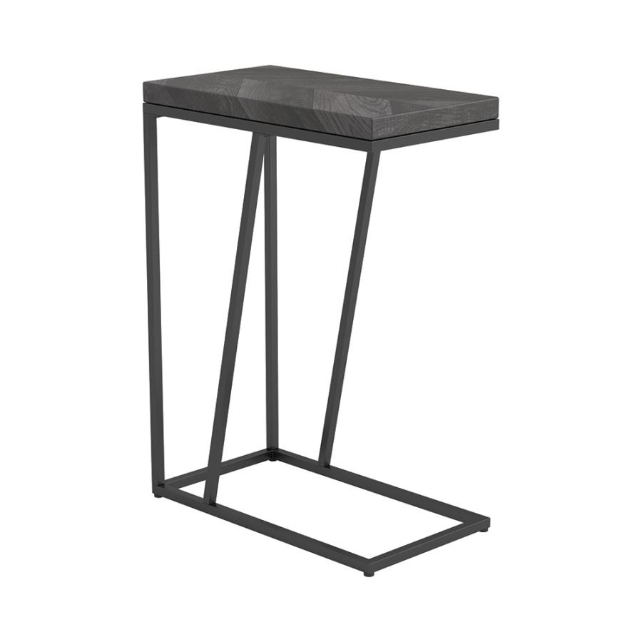 Rustic Grey Accent Table Angle