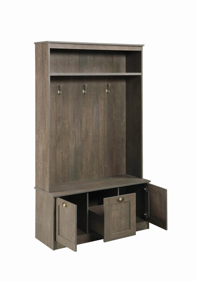 Hall Tree Storage Compartments Open