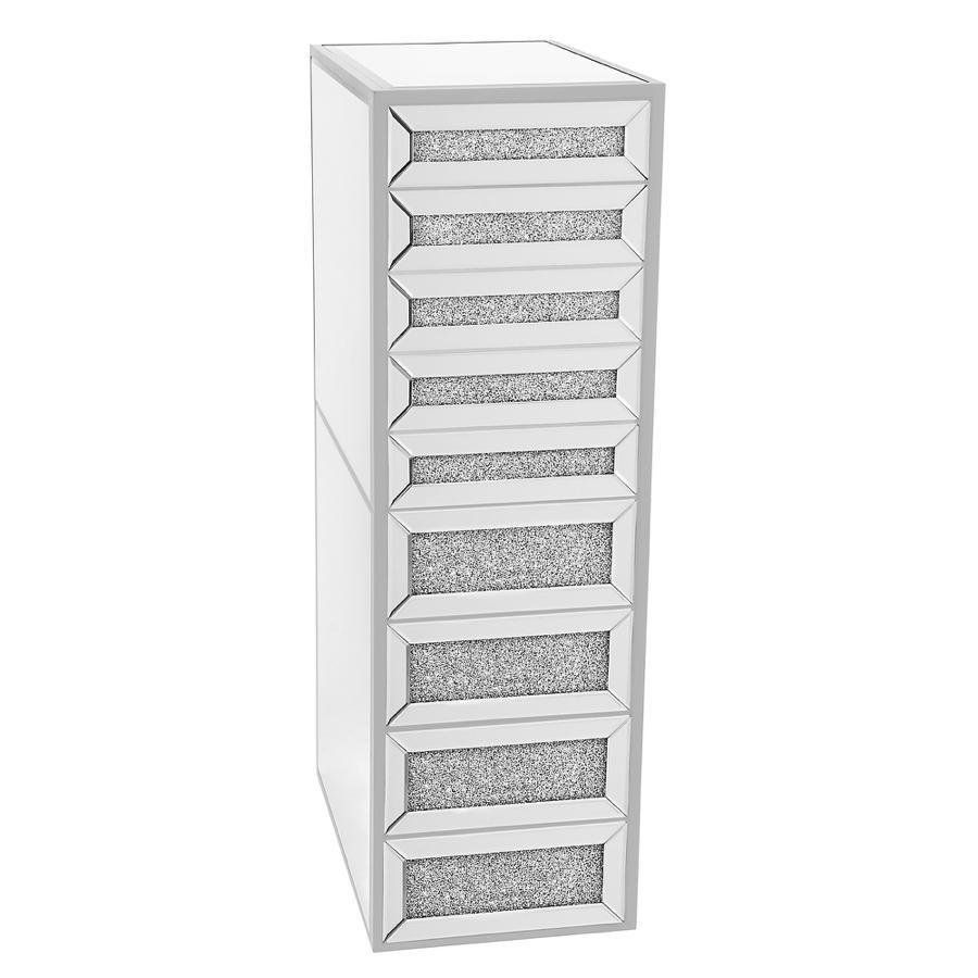 Silver 9-Drawer Vanity Storage Unit