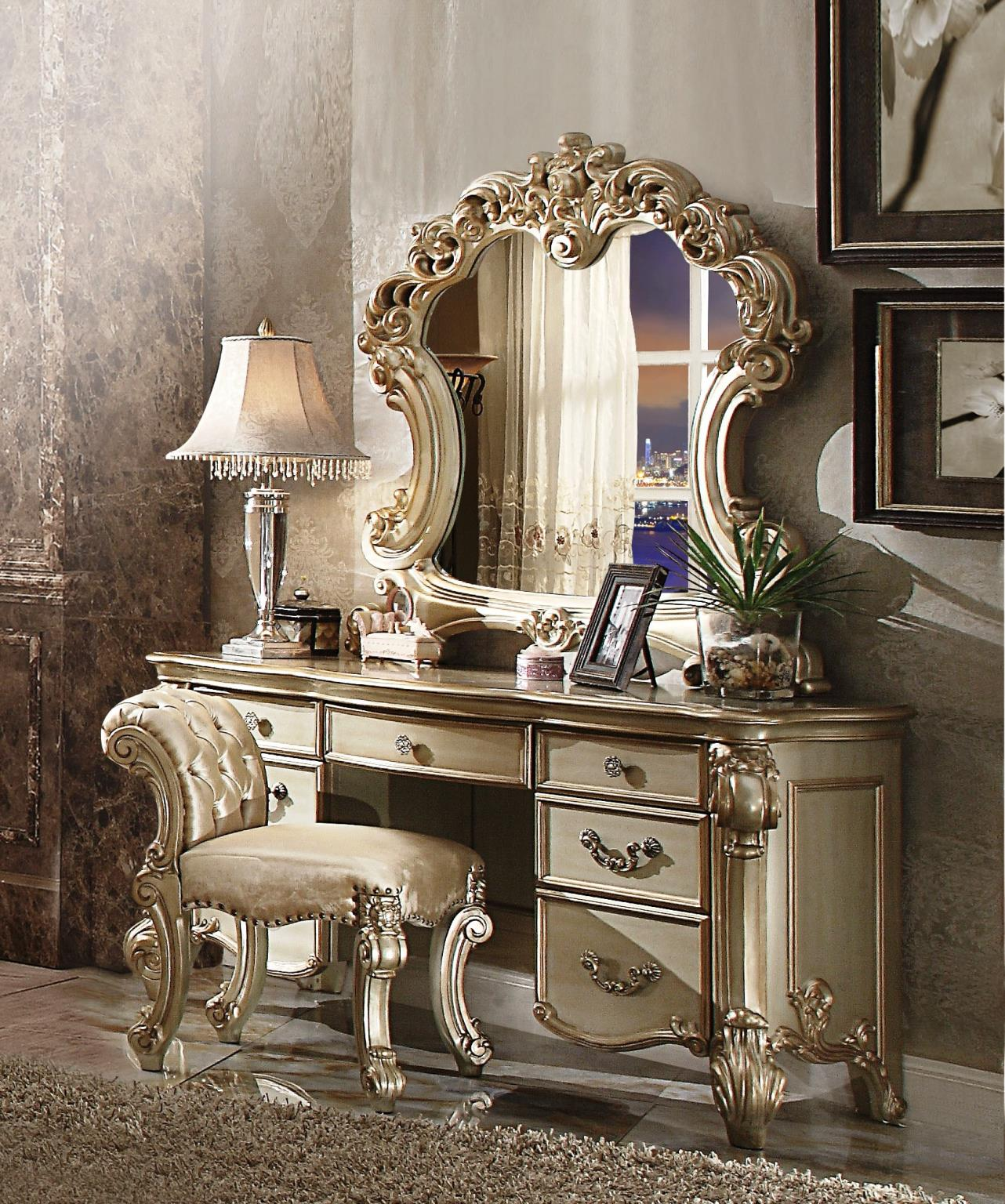 Gold Patina Vanity Desk