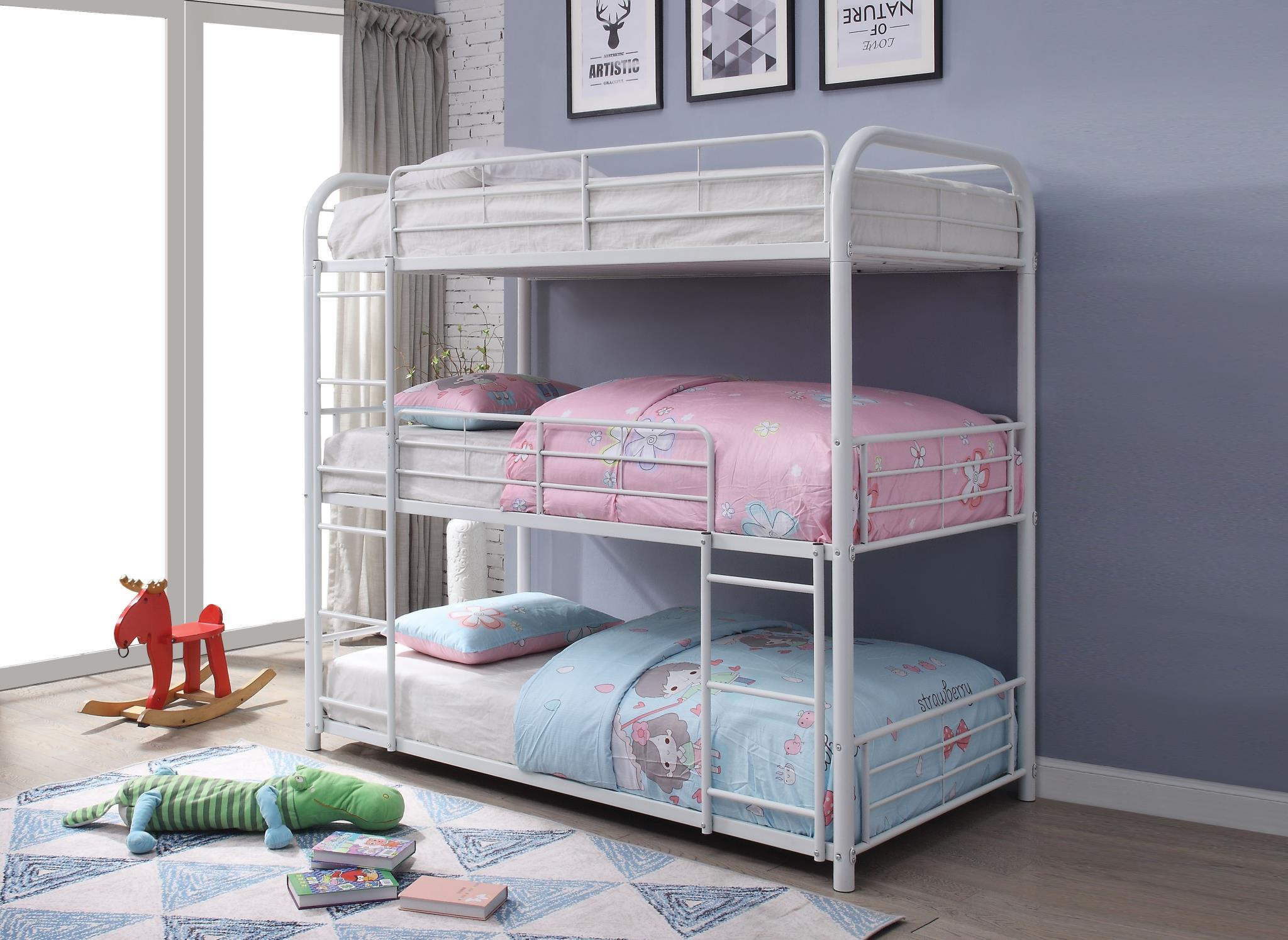 White Triple Metal Bunk Bed