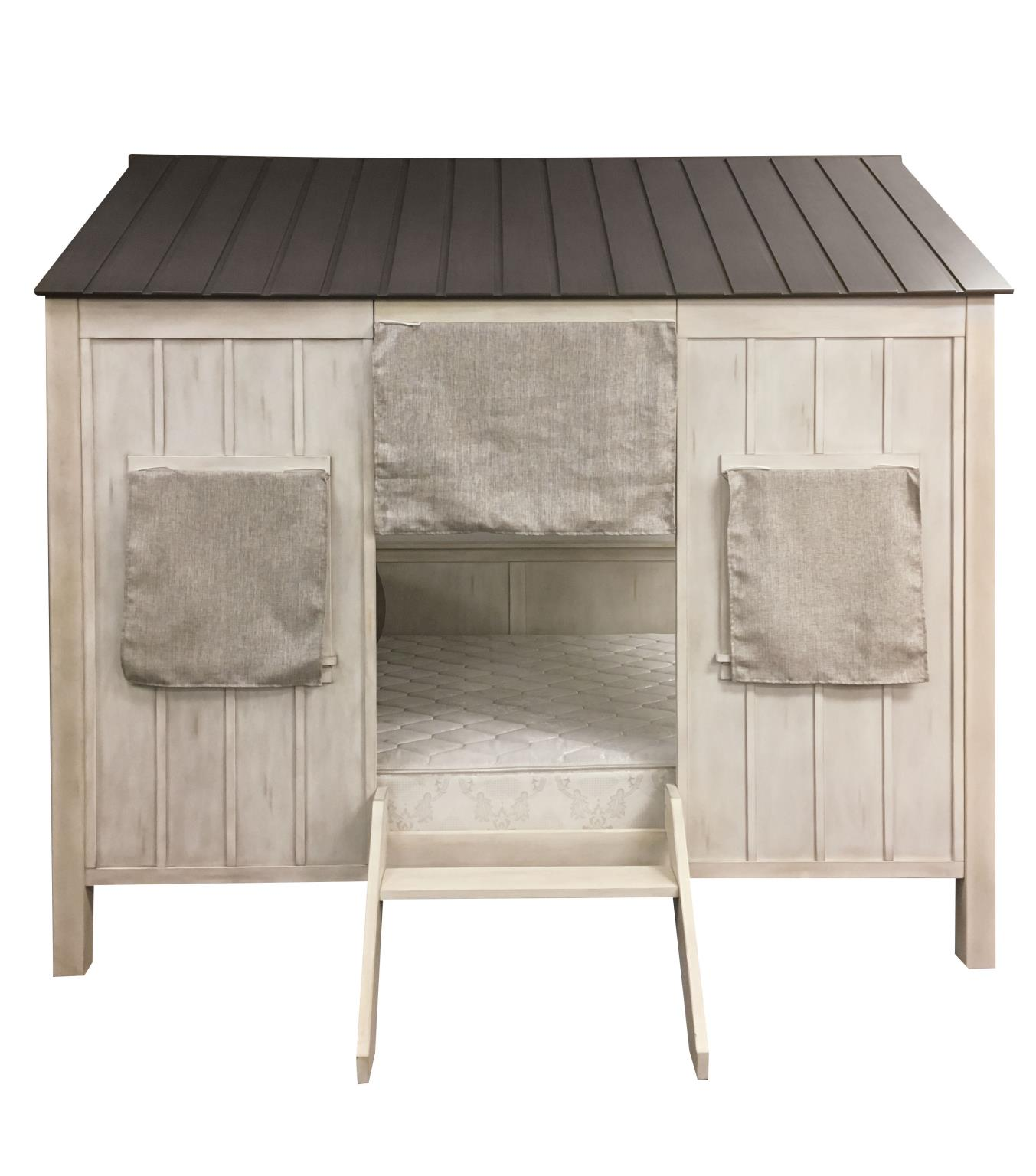 Washed Gray & Weathered White Cottage Themed Full Bed Front