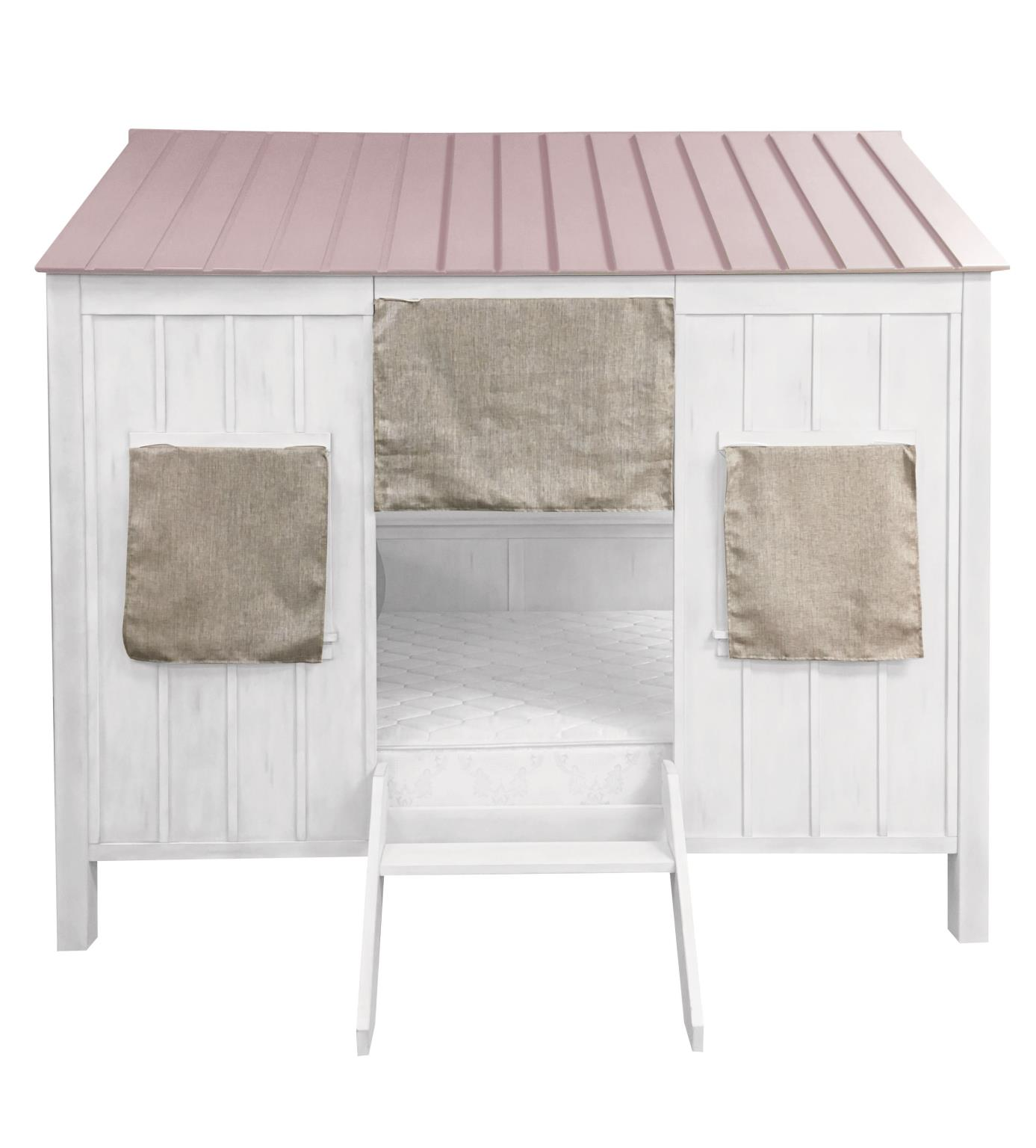 White & Pink Cottage Themed Full Bed Front