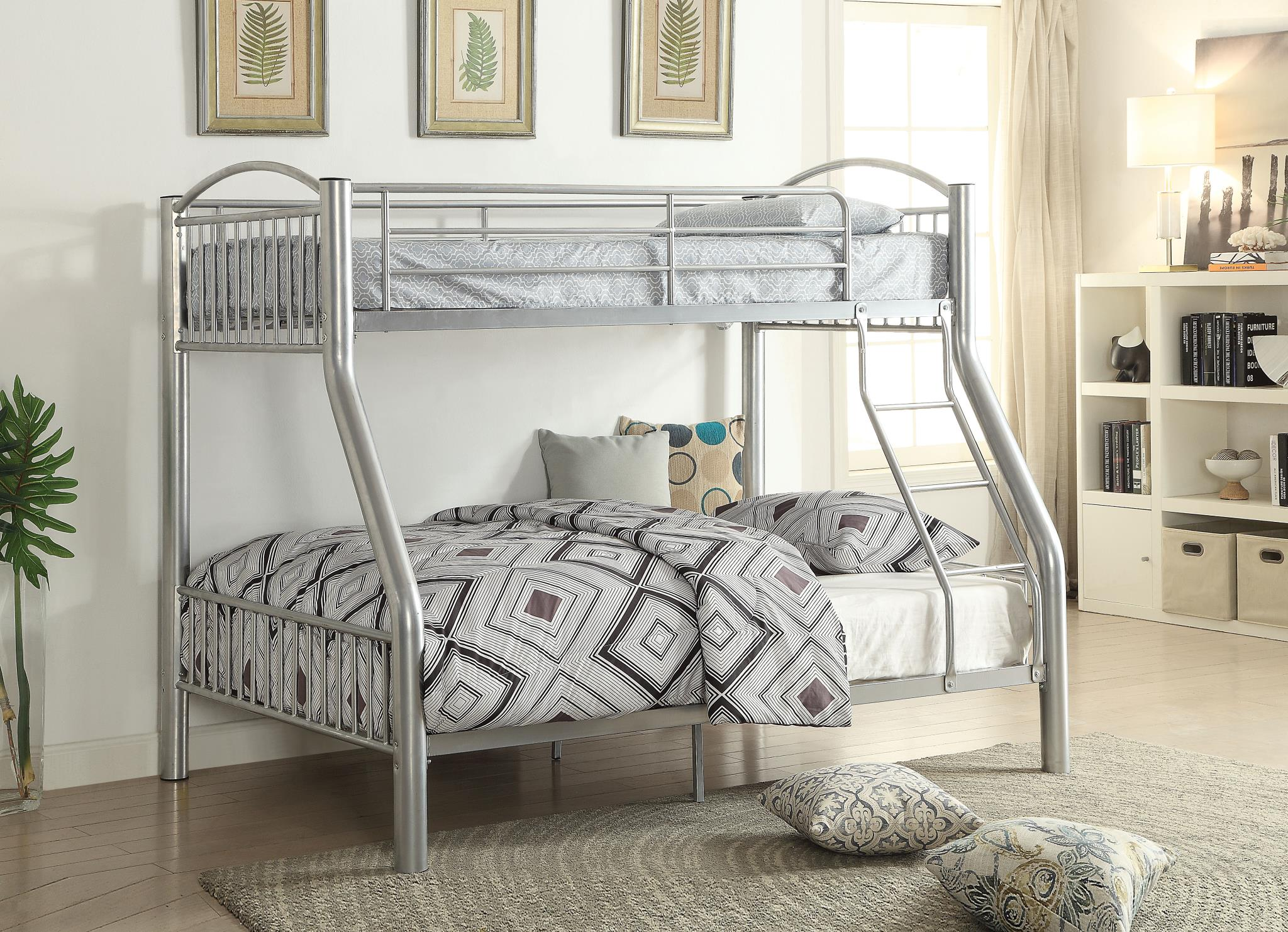 Silver Twin/Full Bunk Bed