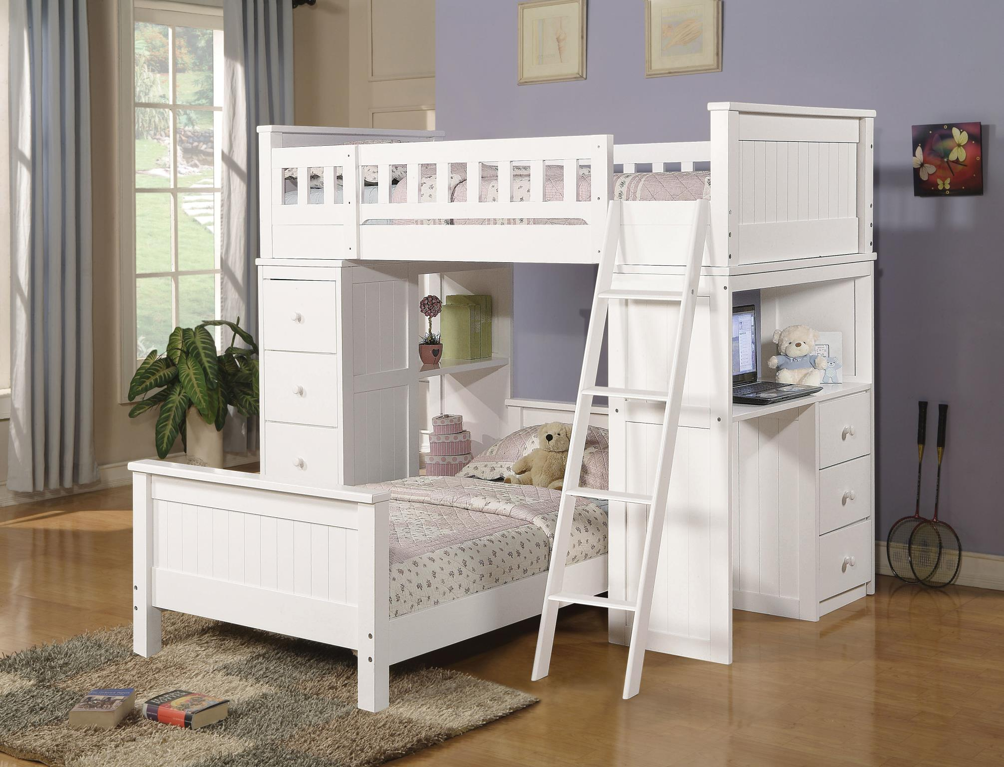 White Complete Loft Bed Set