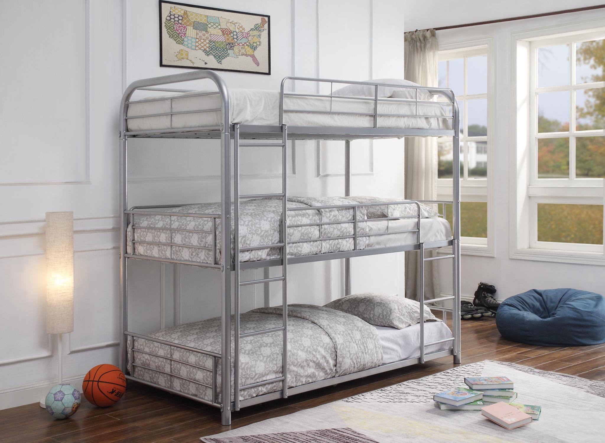 Silver Triple Metal Bunk Bed