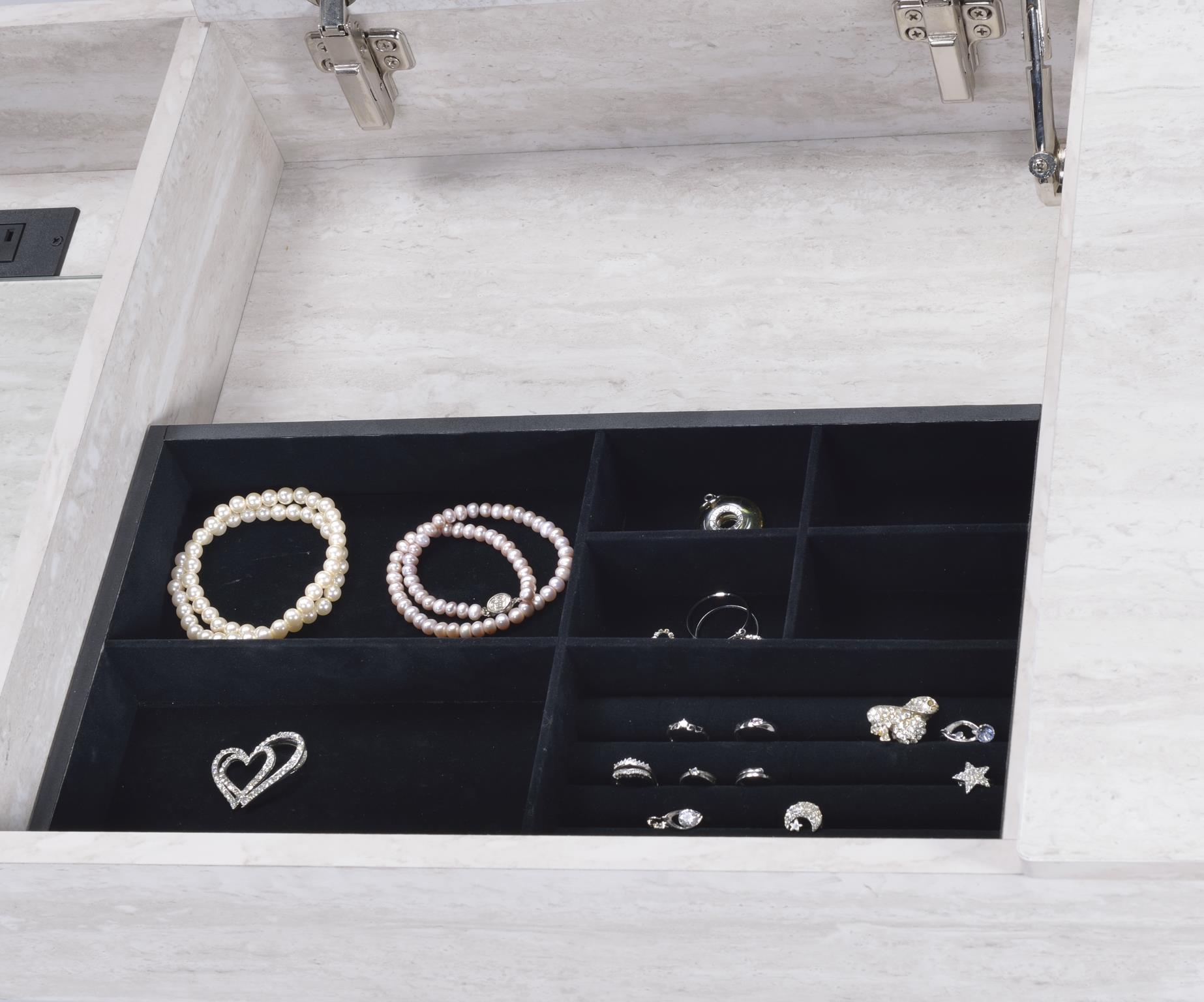 Natural White Vanity Desk Lift Top Jewelry Drawer
