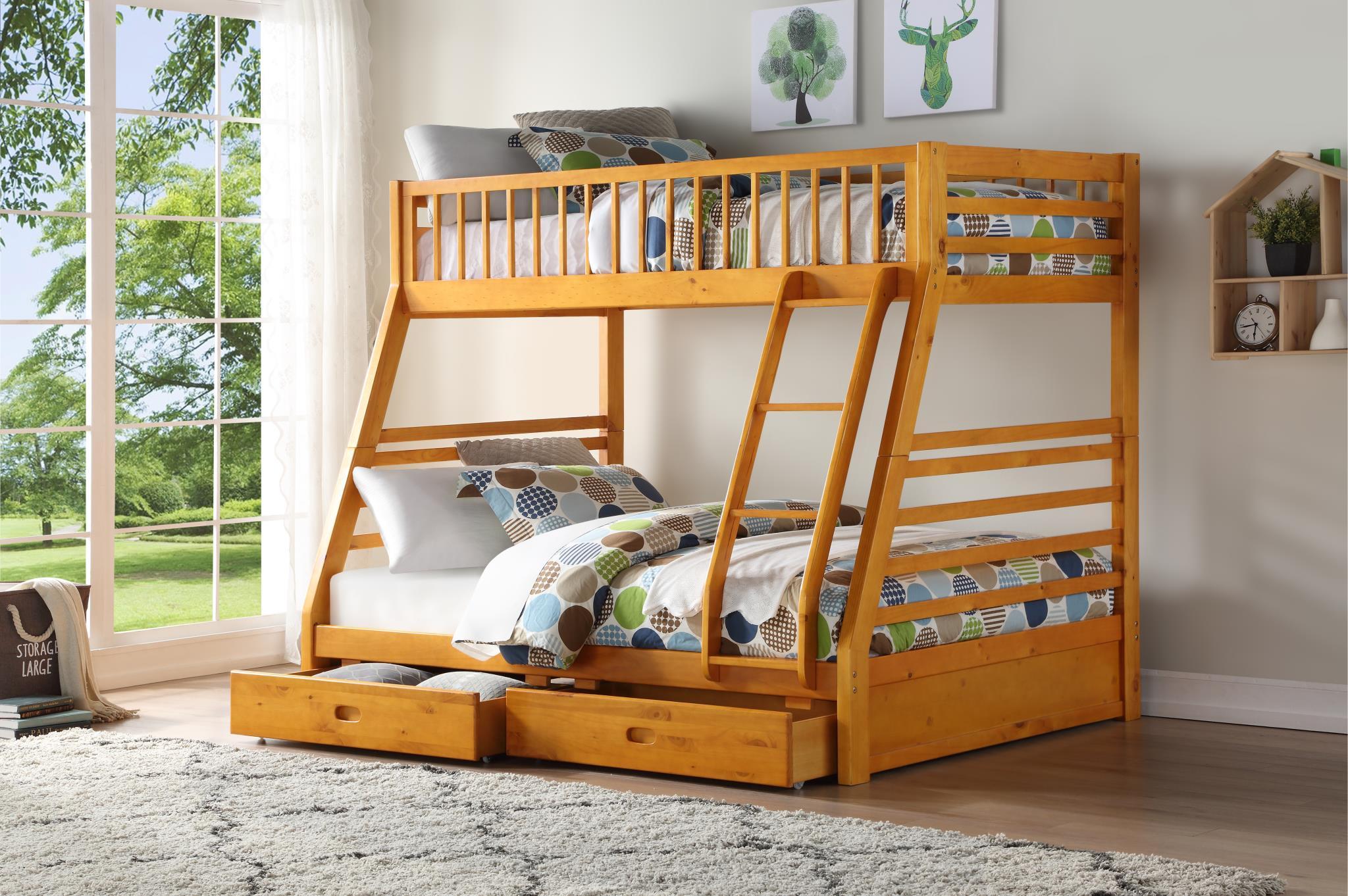 Honey Oak Twin/Full Bunk Bed