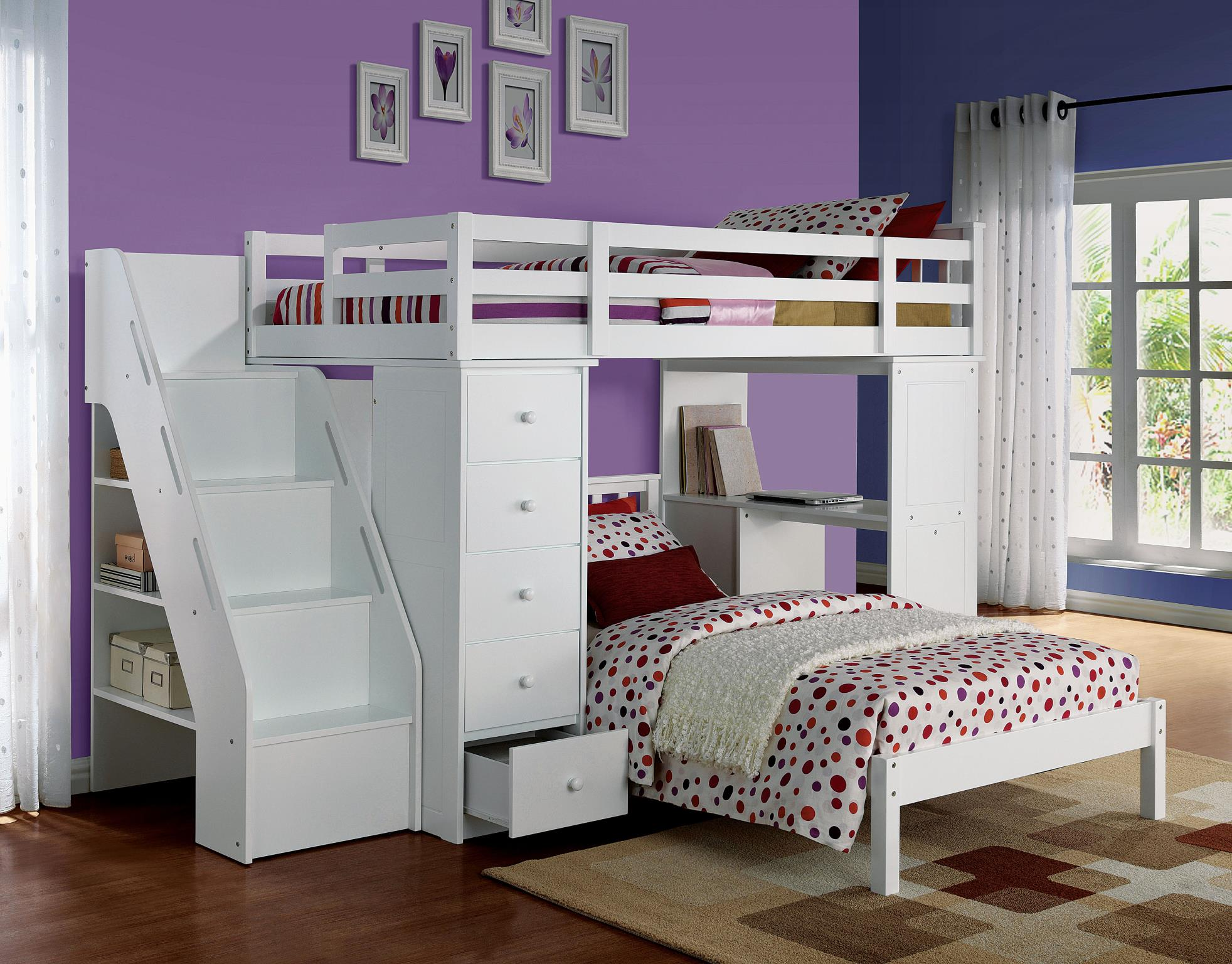 Complete Loft Bed Set Bookcase Ladder Side