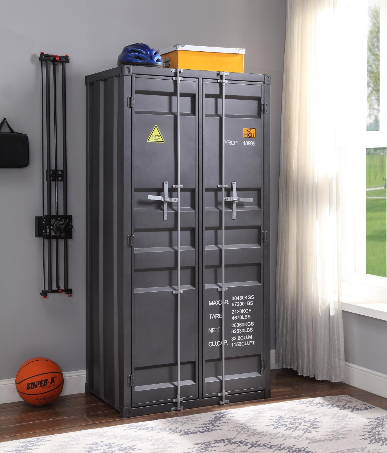 Gunmetal Double Door Wardrobe