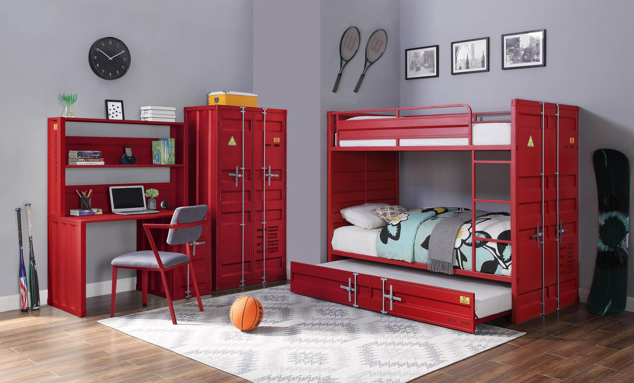 Red Complete Industrial Bunk Bed Set