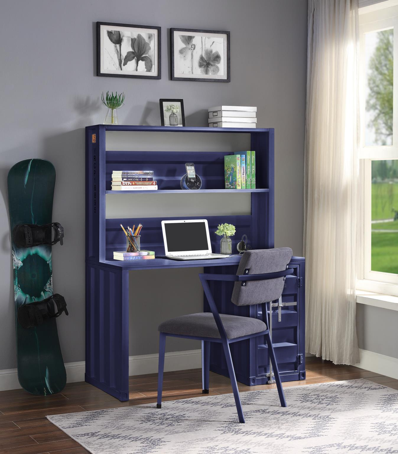 Blue Complete Desk & Hutch