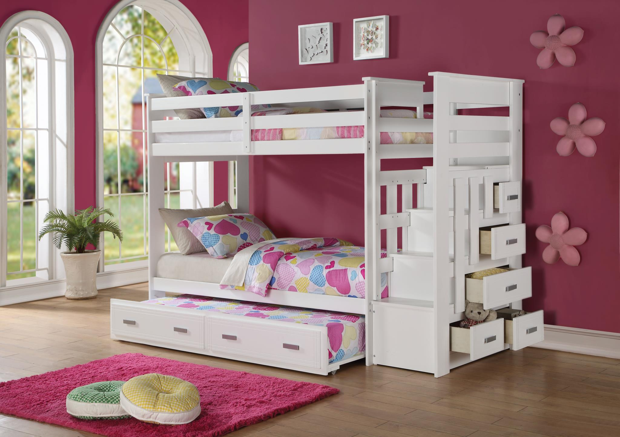 Bunk Bed with Storage Ladder Drawers Opened