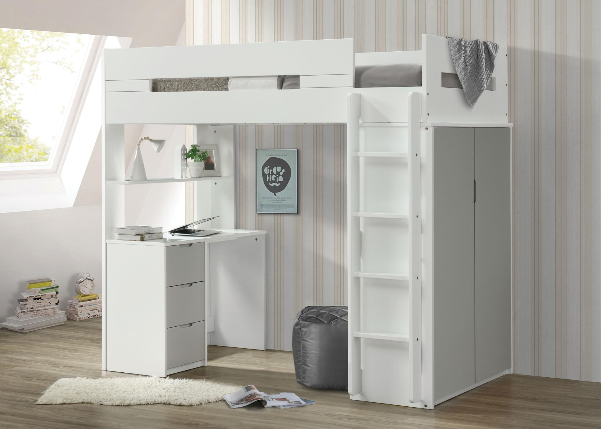 Gray & White Loft Bed