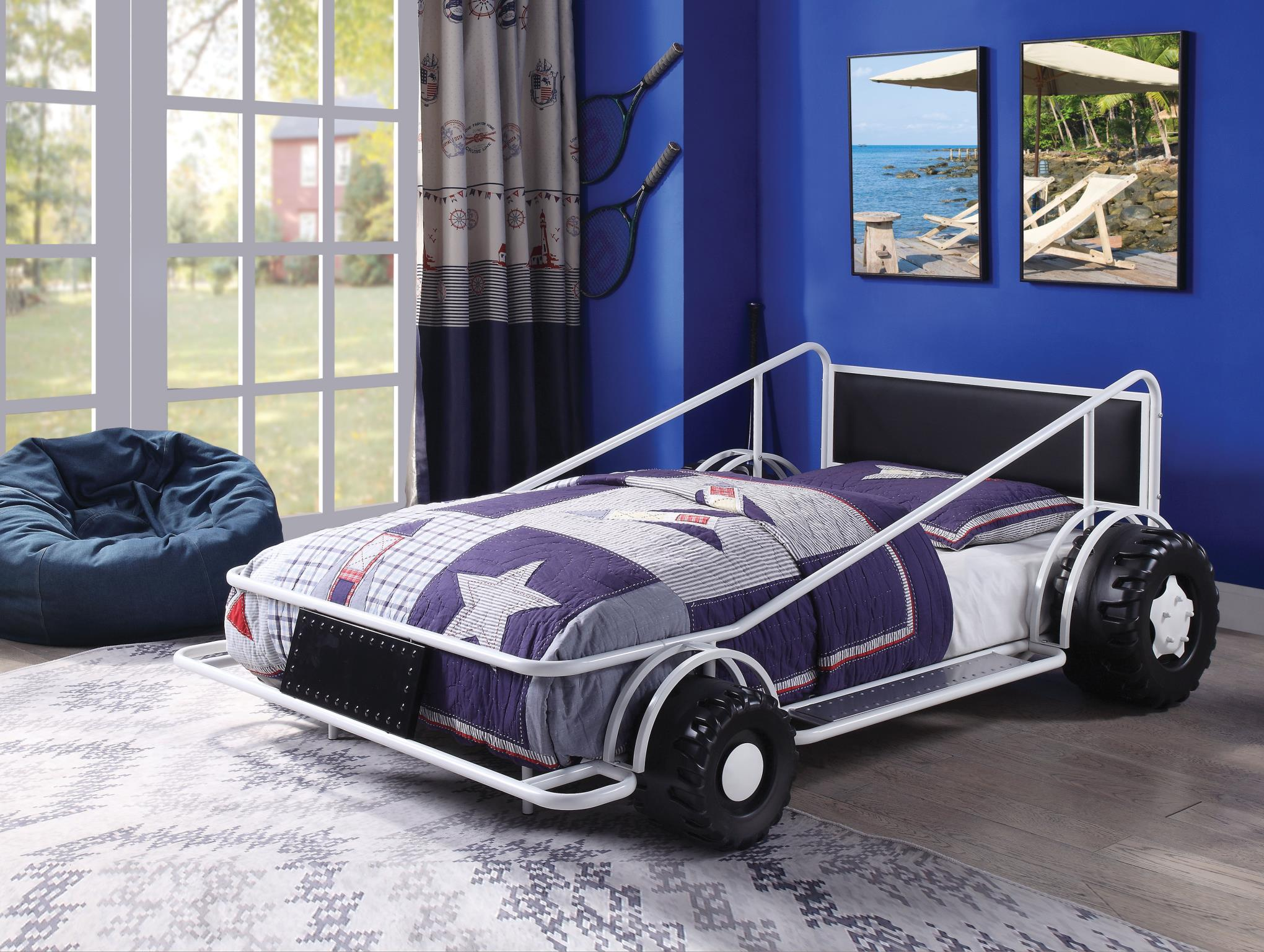 White Race Car Twin Bed
