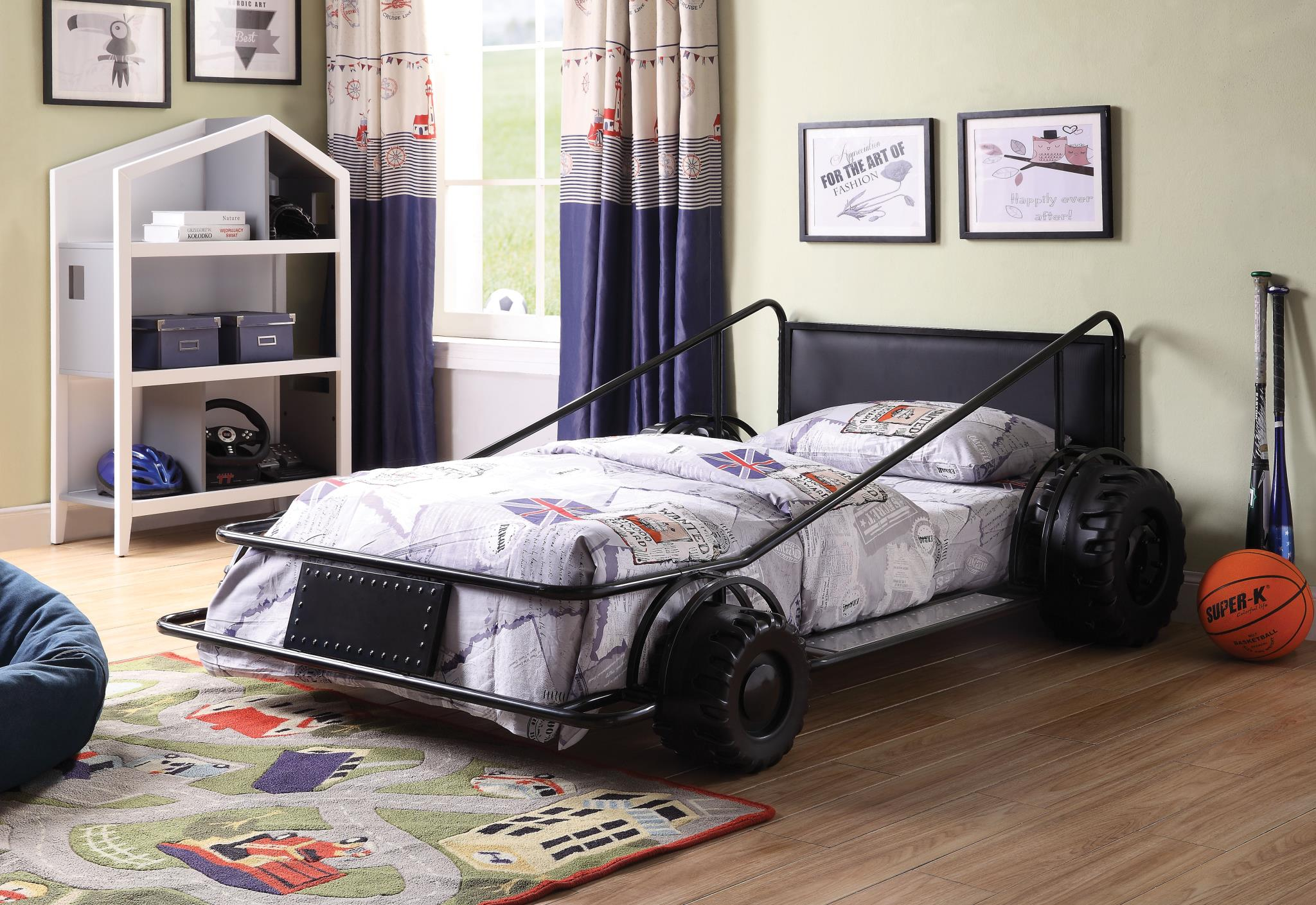 Black Race Car Twin Bed