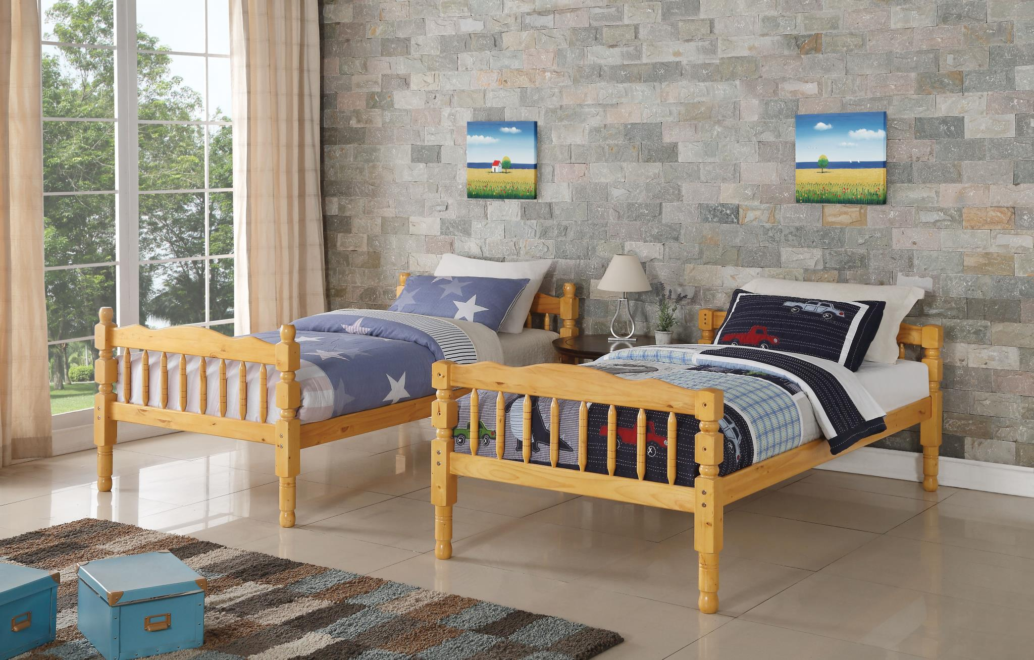 Natural Separate Twin Beds