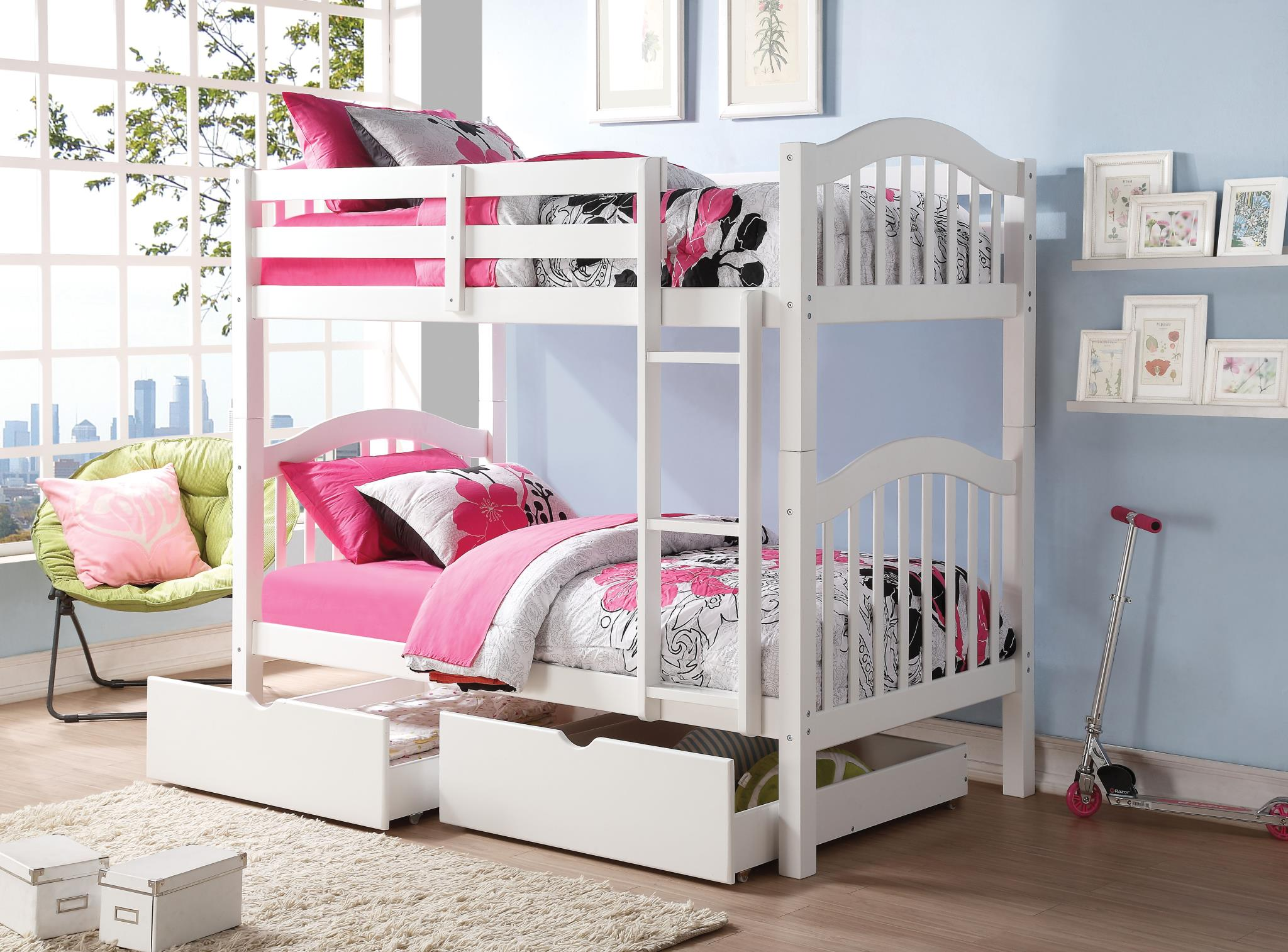 White Twin/Twin Bunk Bed w/ Drawers