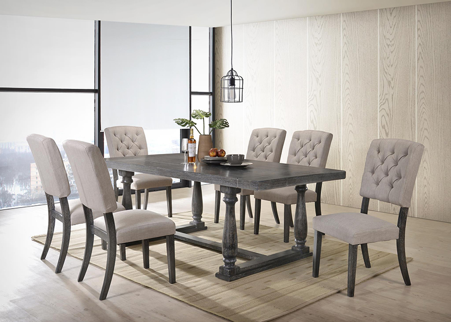 Complete Weathered Gray Oak Dining Table Set