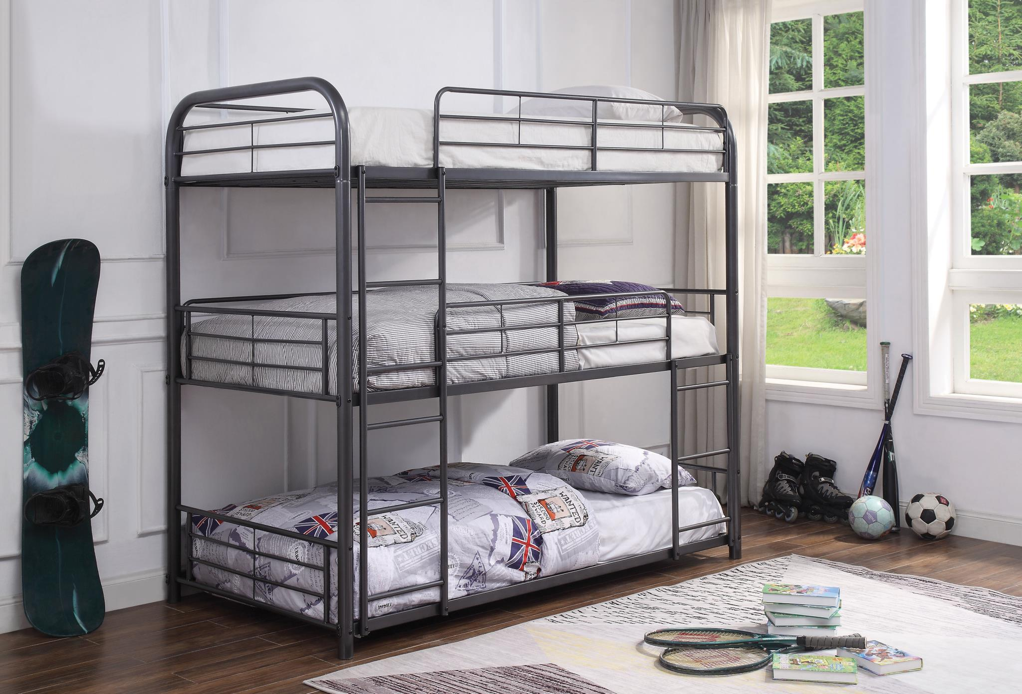 Gunmetal Triple Metal Bunk Bed