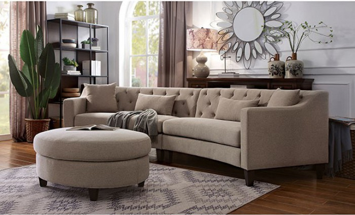 Taupe Complete Sectional Sofa Set