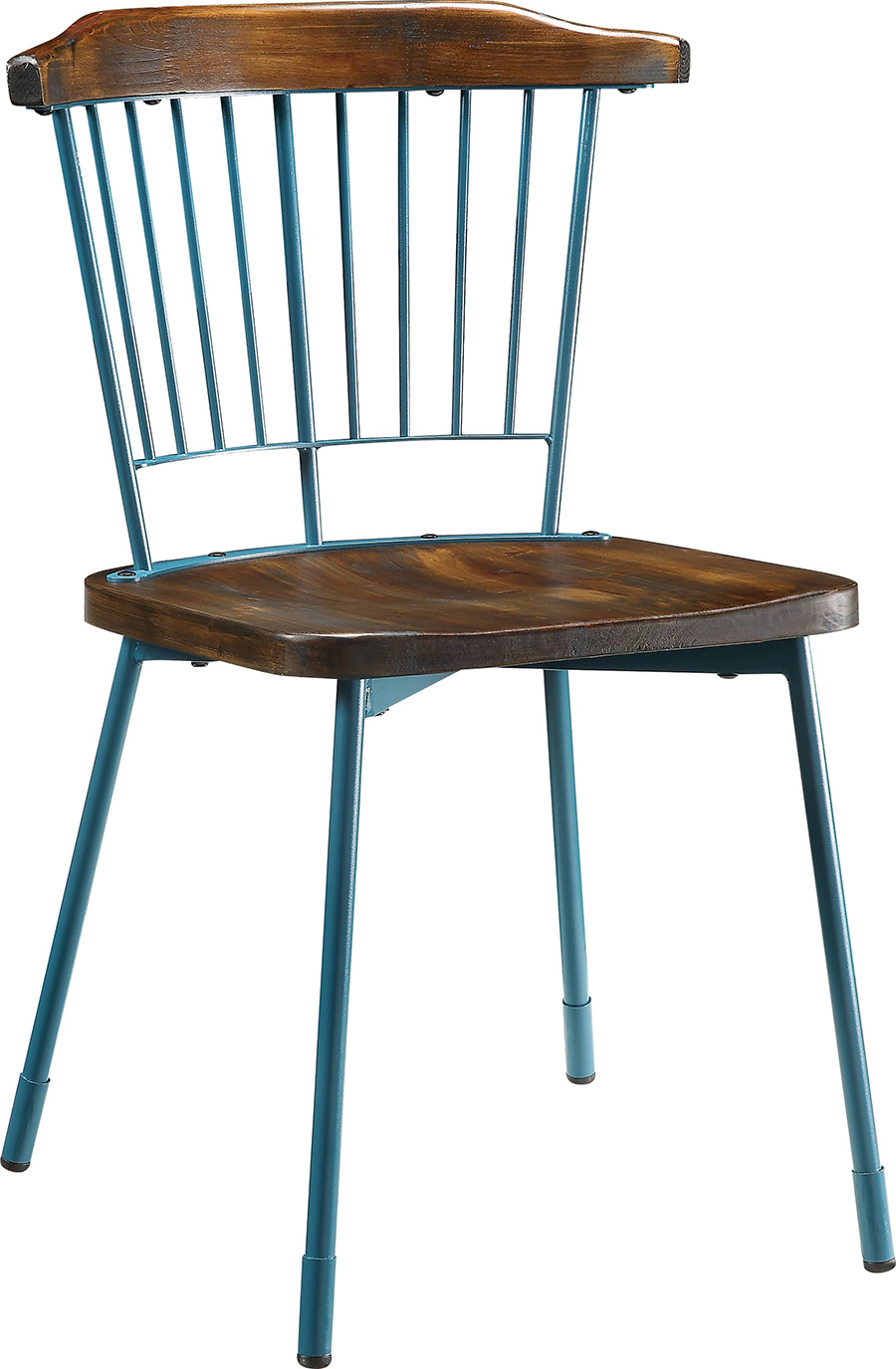 Teal & Brown Oak Side Chair Angle