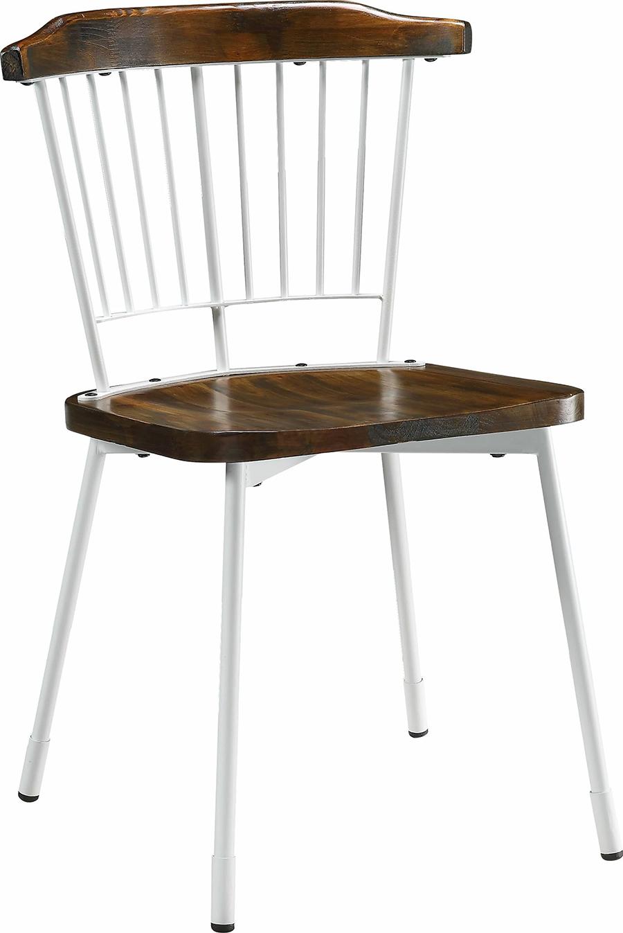 White & Brown Oak Side Chair Angle