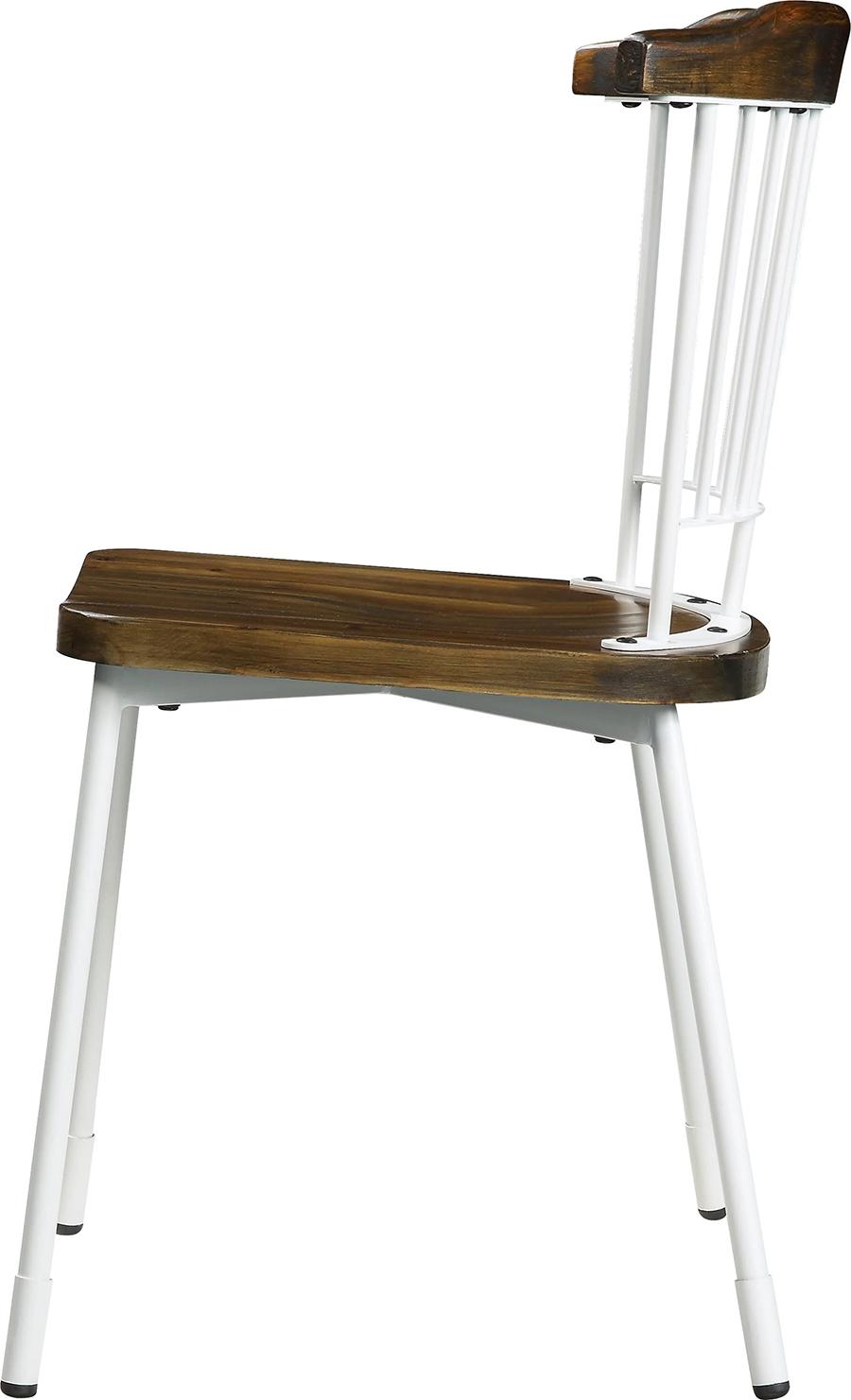 White & Brown Oak Side Chair Side View