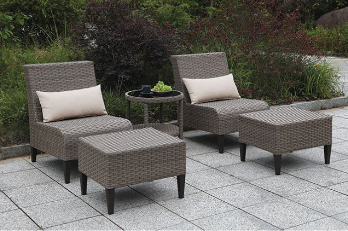 Gray Complete 5 Piece Patio Sofa Set