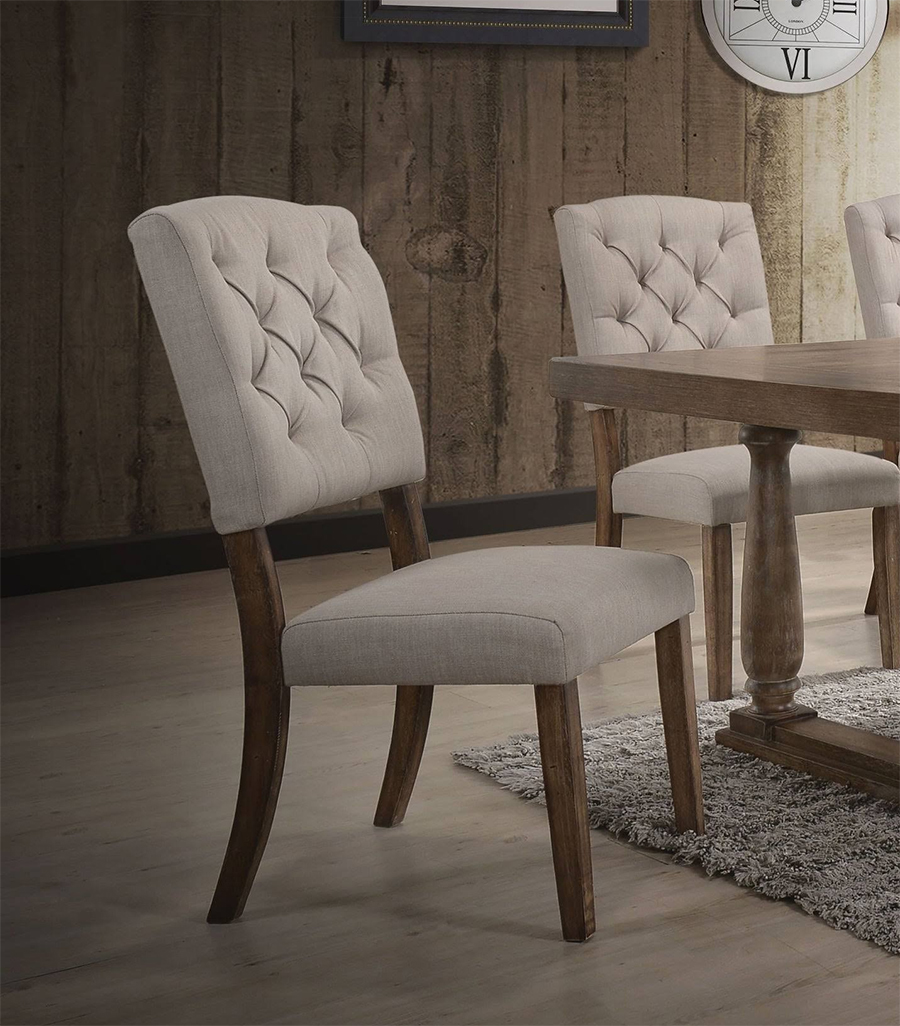 Weathered Oak & Cream Linen Side Chair