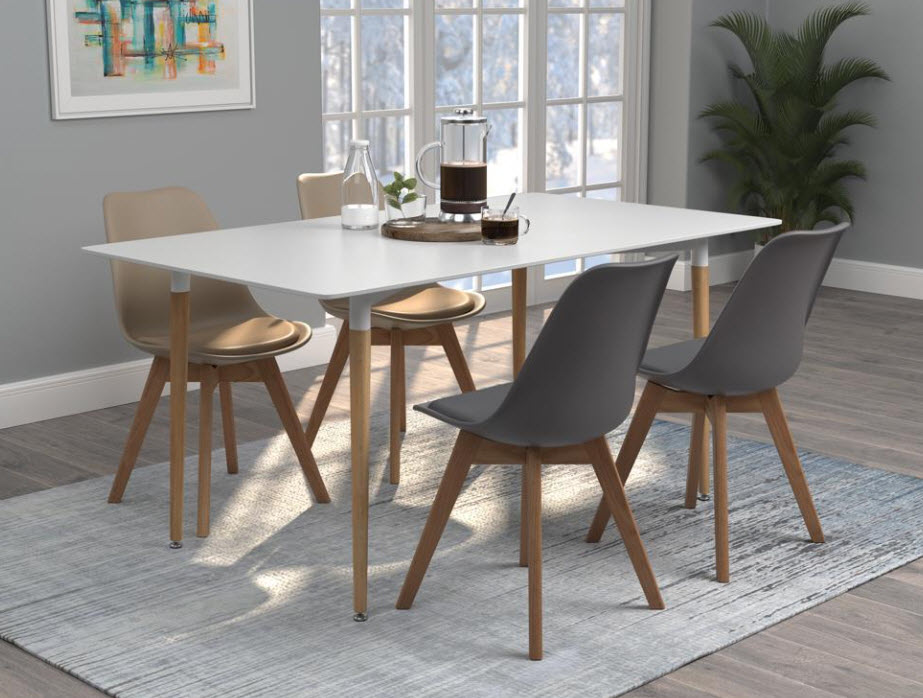 Table W/Two Grey Chairs & 2 Beige Chairs