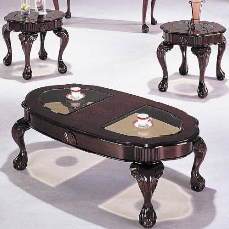 Canebury Cherry 3 Piece Complete Coffee Table Set