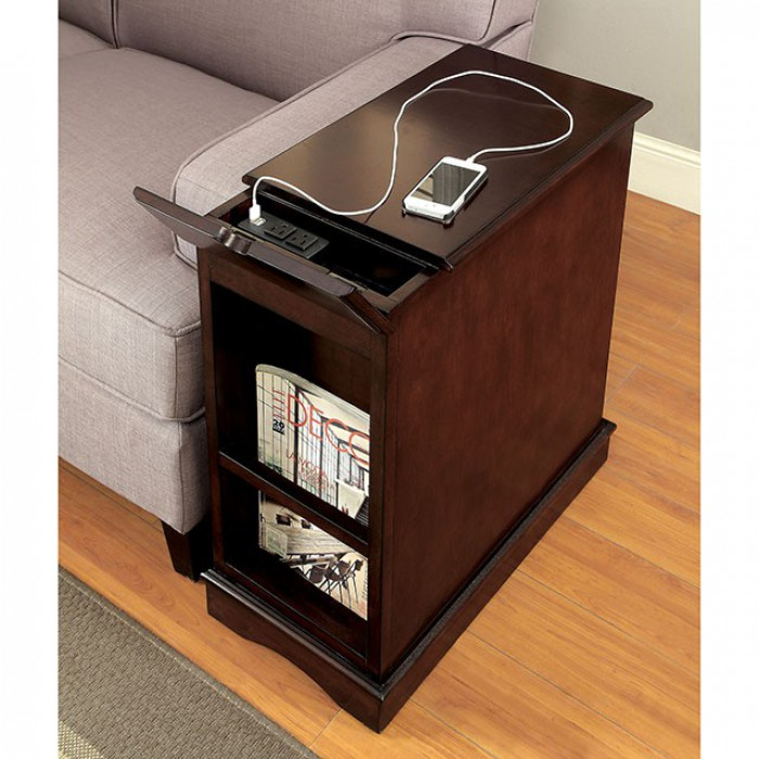 Cherry Side Table Back with USB Port