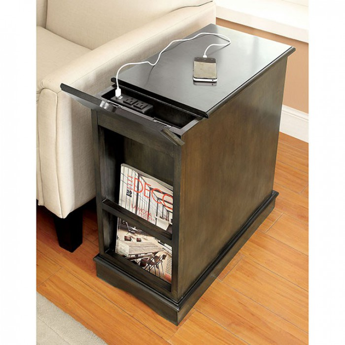 Gray Side Table Back with USB Port