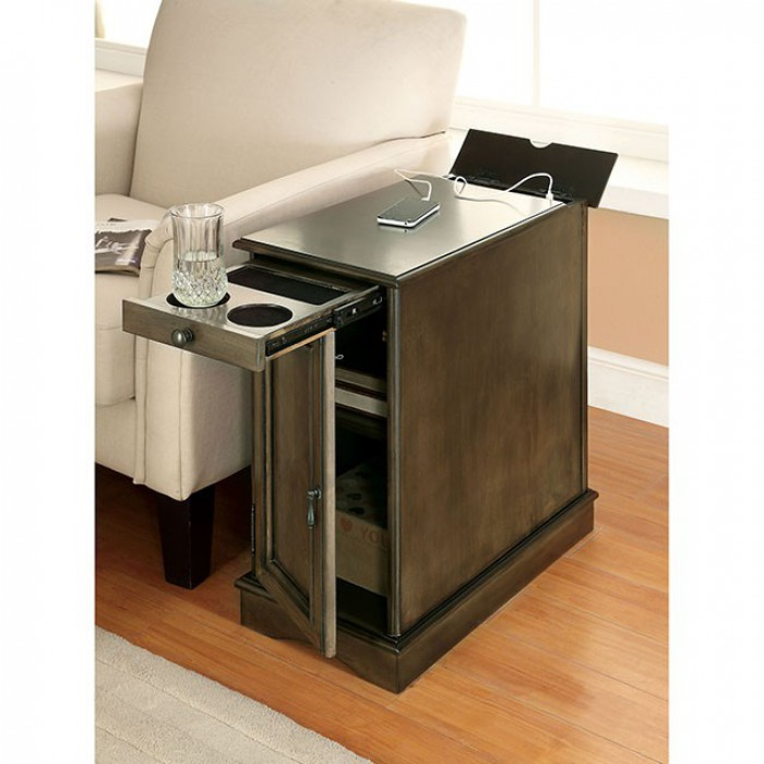 Gray Side Table Ameneties