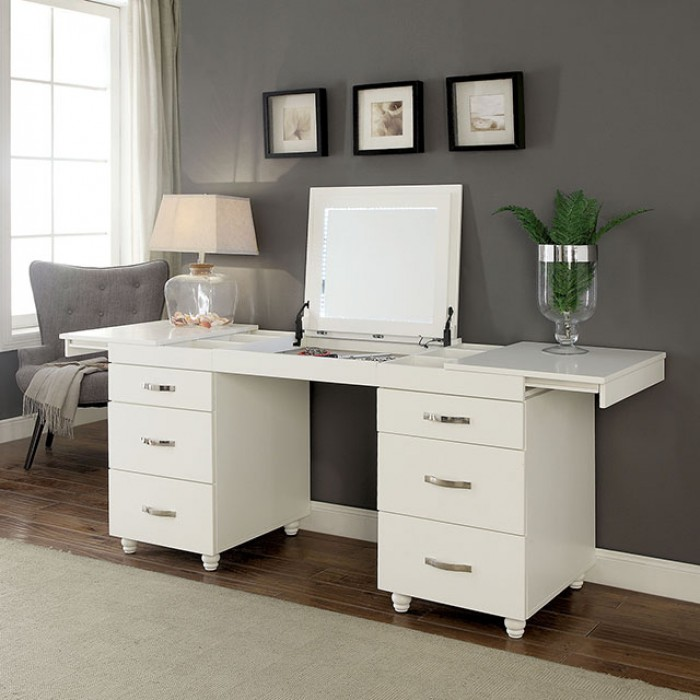 Vanity Desk w/ Pop Up Mirror and Pill Out Side Drawers