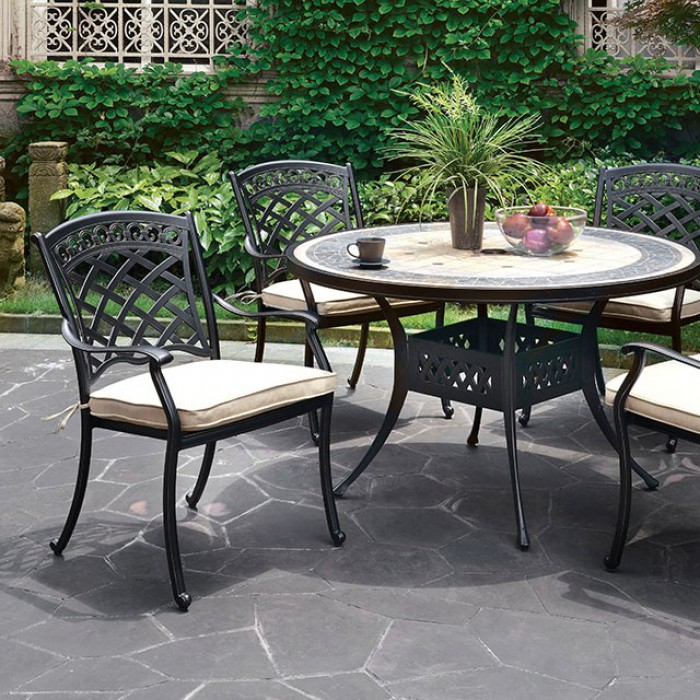 Round Patio Dining Table Set Close Up