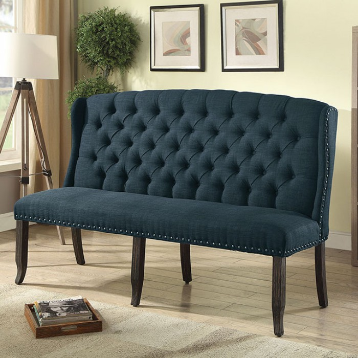 Blue 3-Seater Loveseat Bench